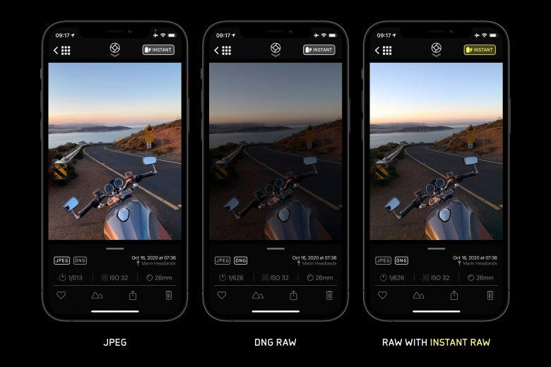Comparación entre una foto JPEG, una RAW y una RAW con Instant RAW