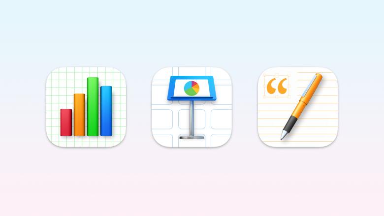 Iconos de las aplicaciones Numbers, Keynote y Pages para Mac