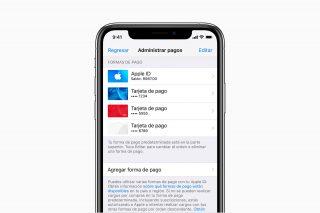 Administración de métodos de pagos en iOS