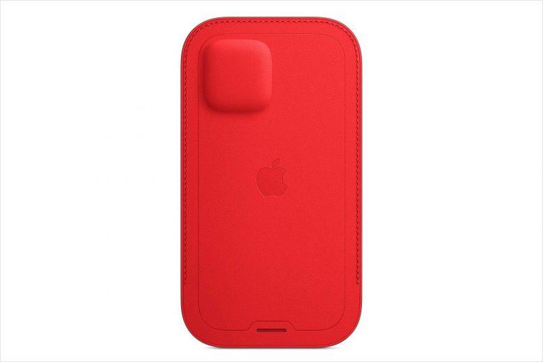 Dorso de la funda integral de piel para el iPhone 12 en color rojo