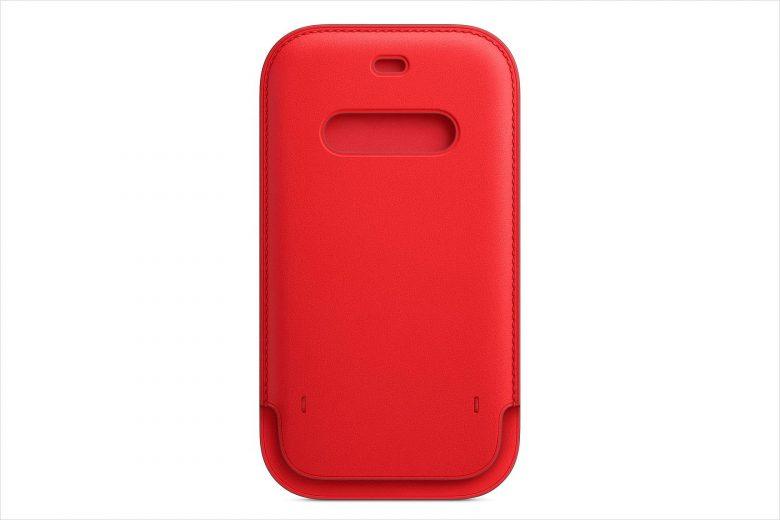 Frente de la funda integral de piel para el iPhone 12 en color rojo