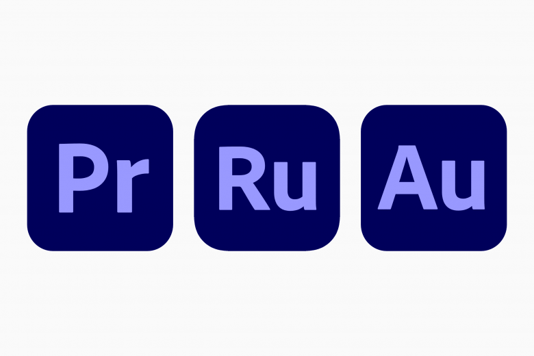 Iconos de Adobe Premiere Pro, Premiere Rush y Audition