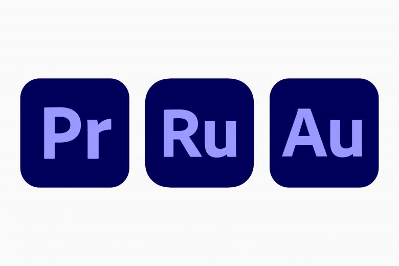 Iconos de Adobe Premiere Pro, Premiere Rush y Audition