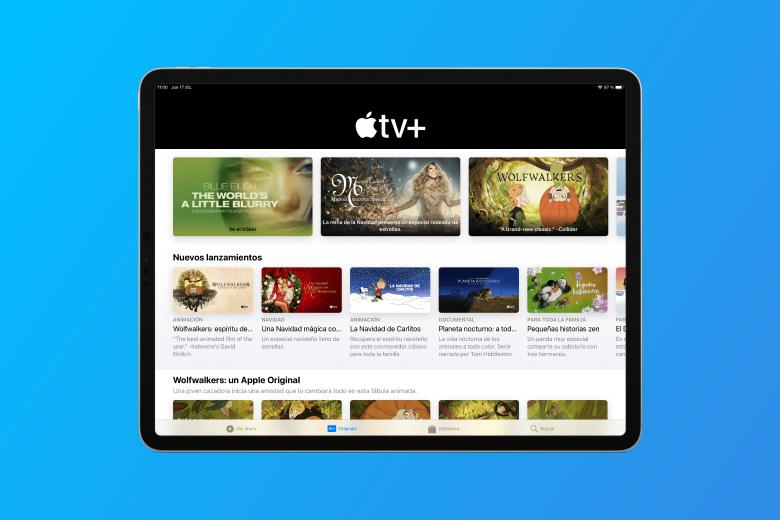 iPad Pro con la aplicación Apple TV mostrando la nueva pestaña con el contenido original de Apple TV+