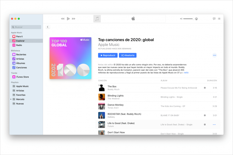 Top canciones Global en Apple Music