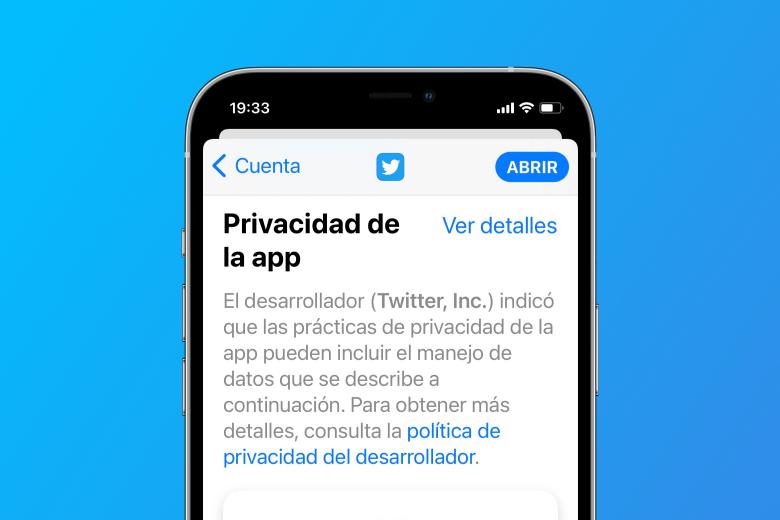 Sección de información de privacidad de la aplicación en la App Store