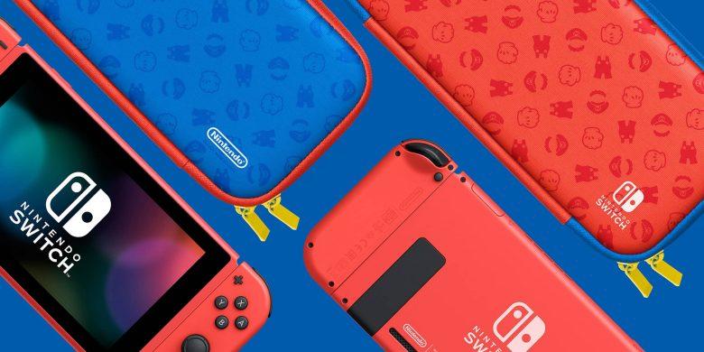 Nintendo Switch edición Mario (Rojo y Azul) con estuche protector