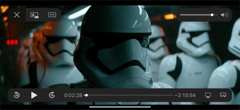 Controles de reproducción de video en el iPhone, con icono de configuración de idioma de audio y subtítulos