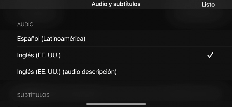 Selección del idioma del audio de un video en el iPhone