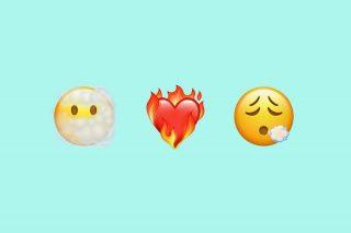 """Emojis nuevos en iOS 14.5, """"Cara tras nubes"""", """"Corazón en llamas"""" y """"Cara exhalando"""""""