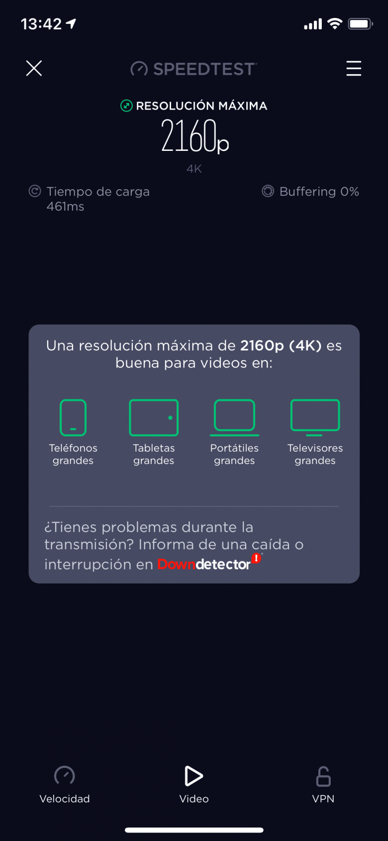 Resultados del test de video en Speedtest