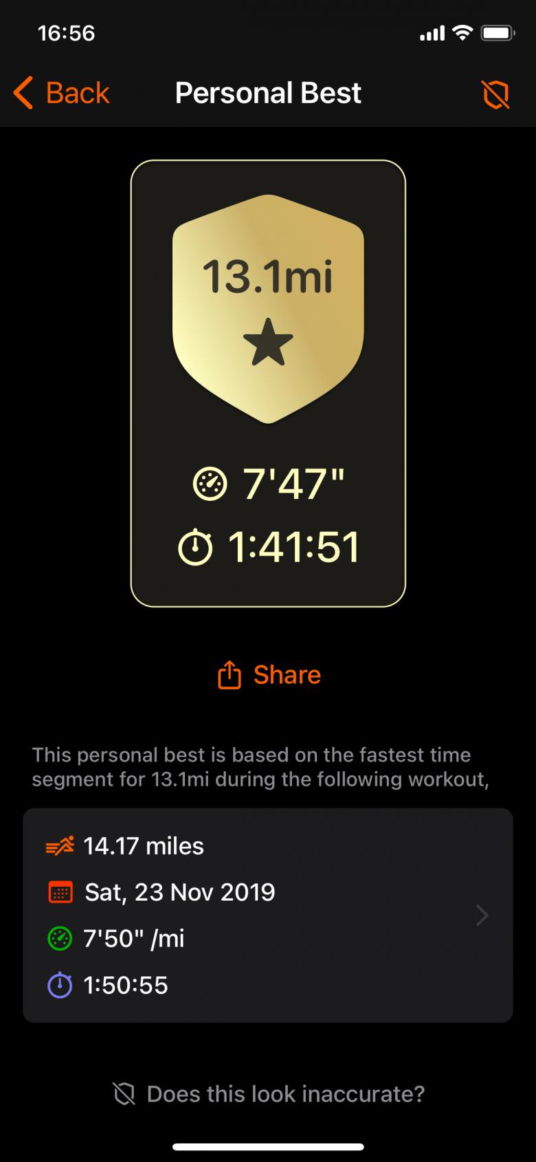 Record personal de 13,1mi (Media Maratón)
