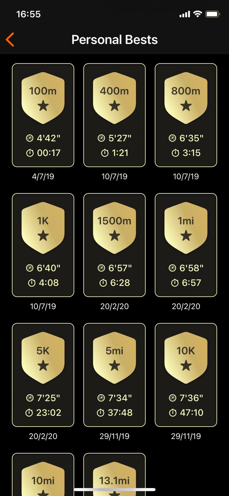 Records personales de 100m, 400m, 800m, 1K, 1500m, 1mi, 5K, 5mi, 10K, 10mi y 13.1mi (Media Maratón)