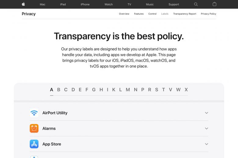 Página web con las etiquetas de privacidad de todas las aplicaciones de Apple