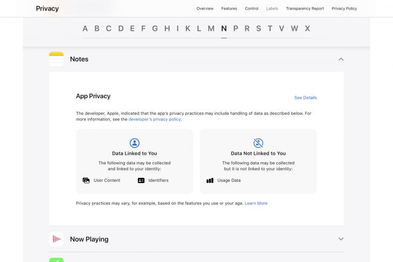 Etiquetas de privacidad de la aplicación Notas de Apple