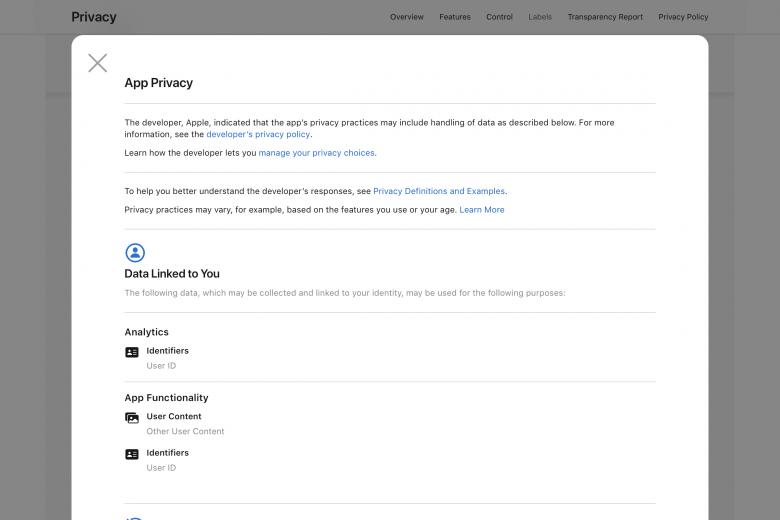 Detalles de las etiquetas de privacidad de la aplicación Notas de Apple