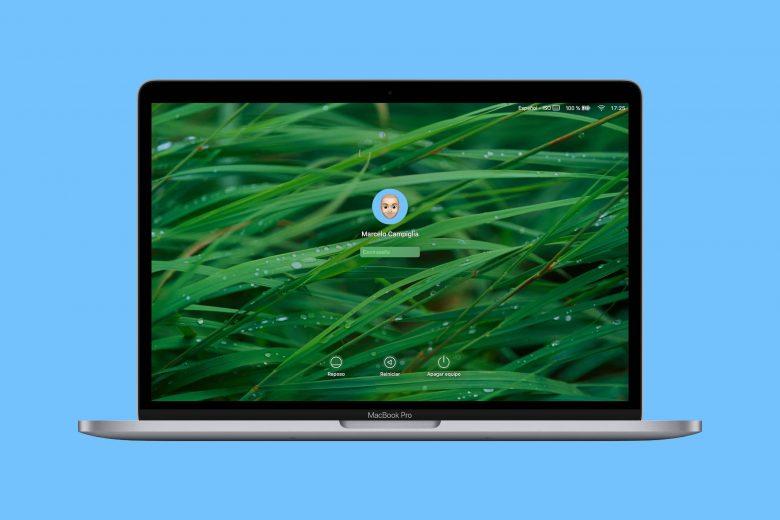 Pantalla de inicio de sesión de macOS Catalina en un MacBook Pro