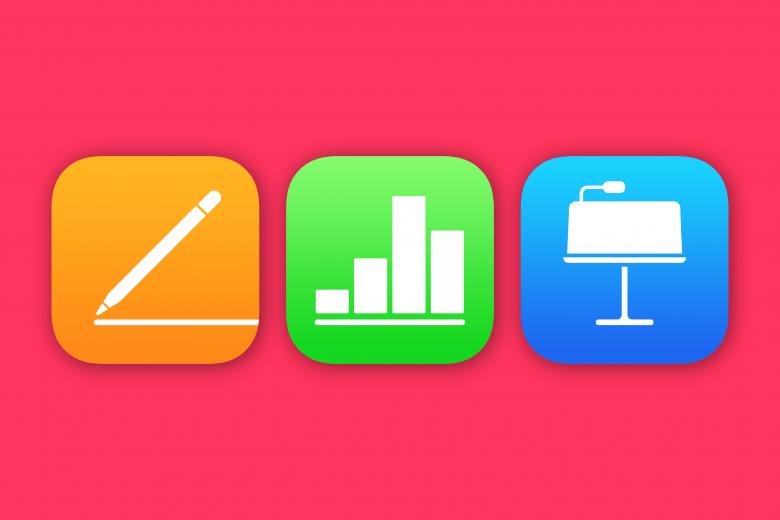 Iconos de las aplicaciones Pages, Numbers y Keynote para iOS y iPadOS