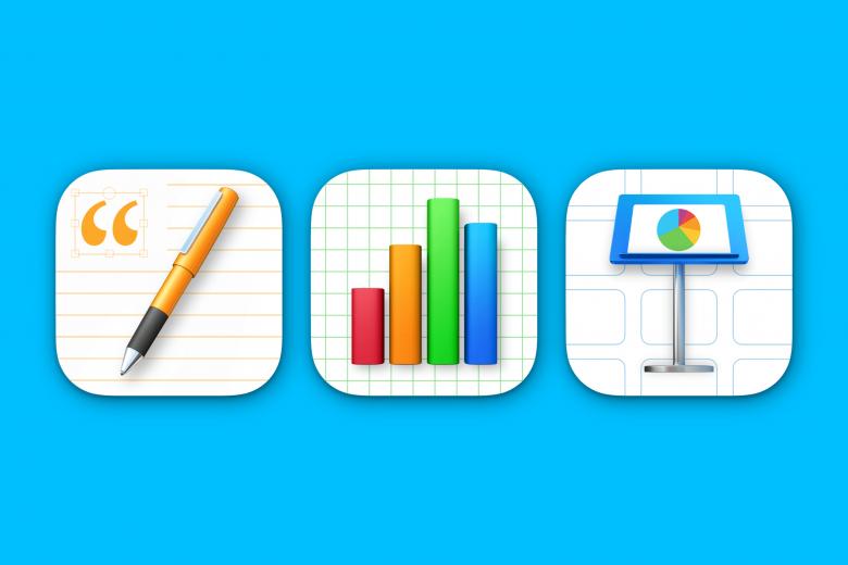Iconos de las aplicaciones Pages, Numbers y Keynote para macOS