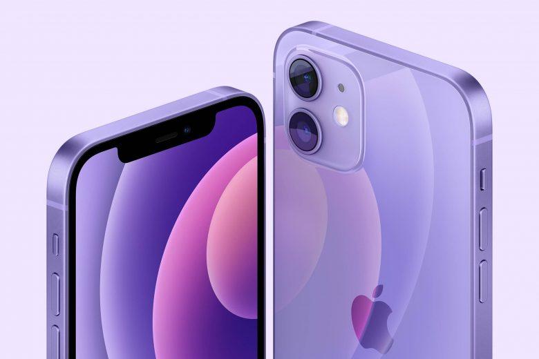 iPhone 2 y iPhone 12 mini en color púrpura