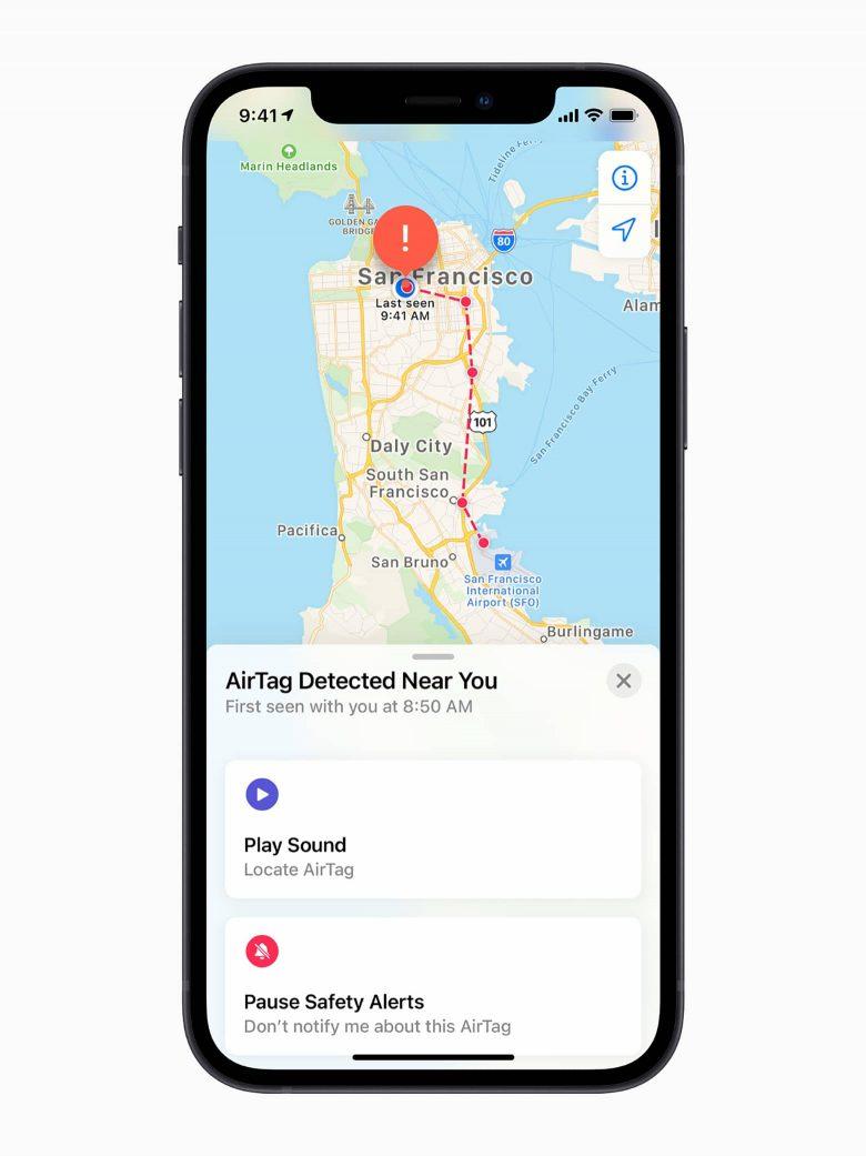 iPhone con la pantalla de detección de una AirTag en la aplicación Encontrar