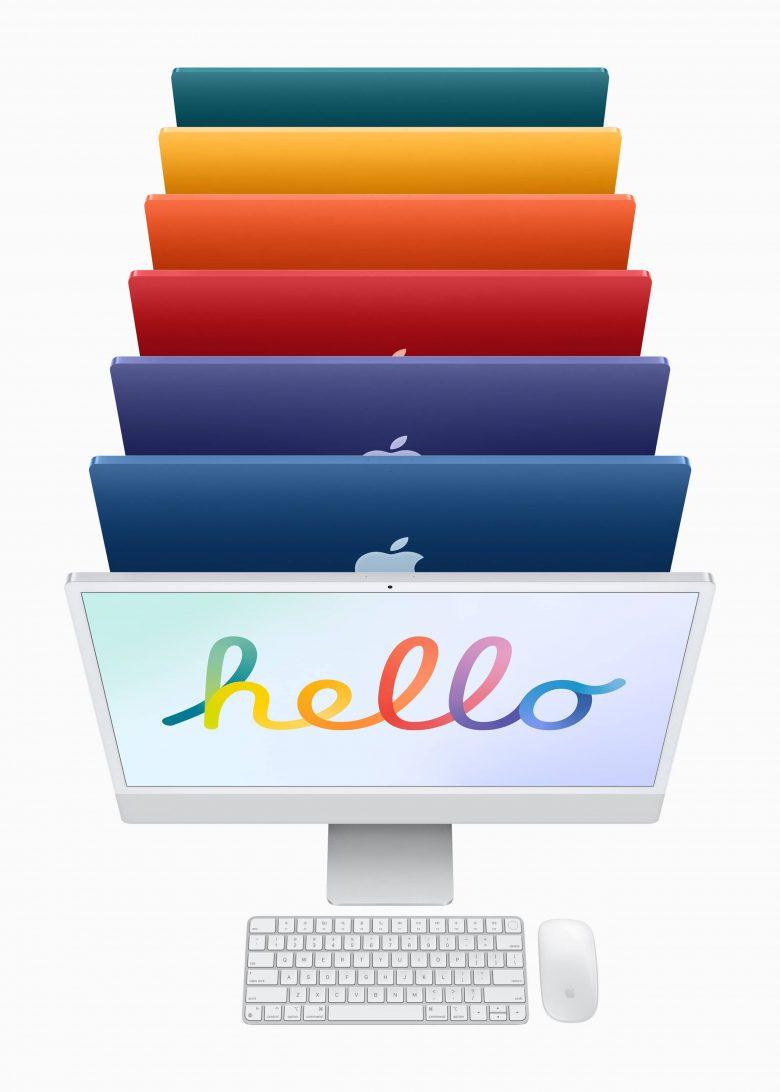 La nueva iMac esta disponible en 7 opciones de colores (verde, amarillo, naranja, rosa, violeta, azul y plateado)