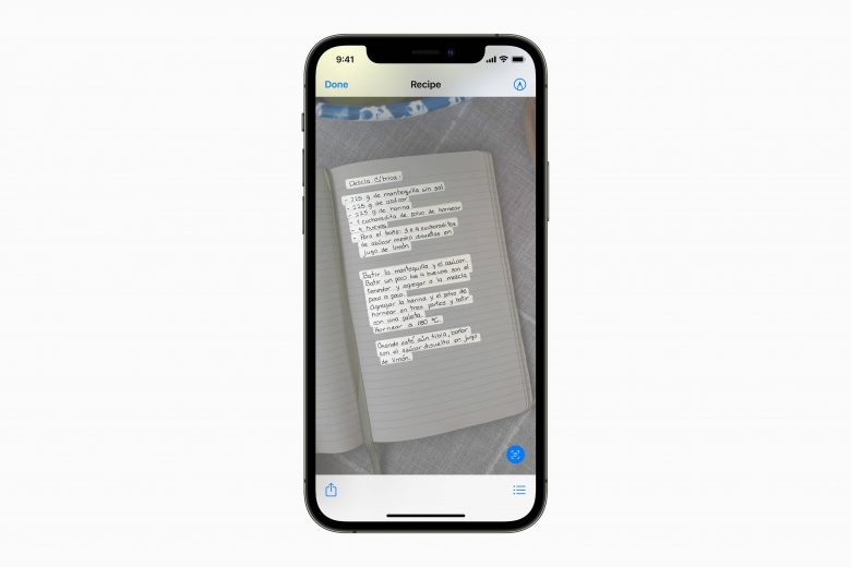 Live Text en iOS 15