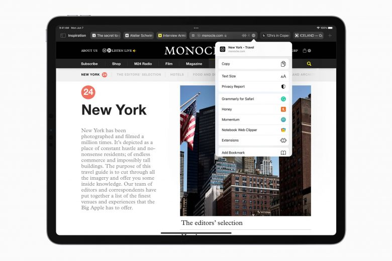 Safari en iPadOS 15