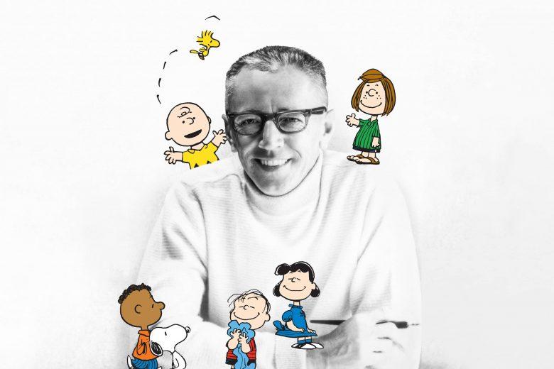 """Charles M. Schulz y algunos personajes de los """"Peanuts"""""""